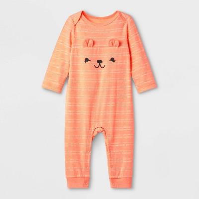 Baby Girls' Critter Romper - Cat & Jack™ Peach 0-3M