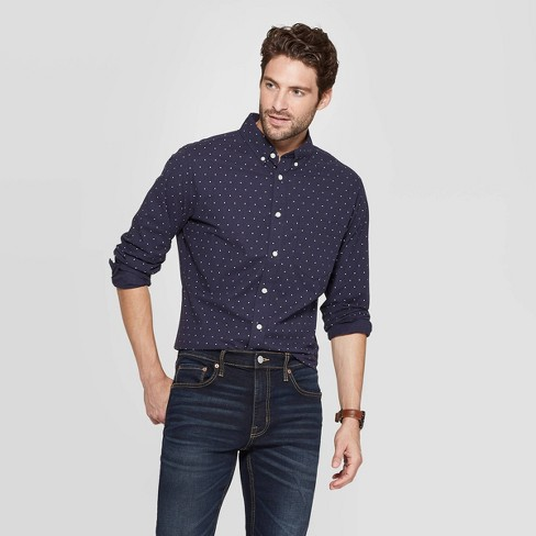 Men's Printed Slim Fit Long Sleeve Poplin Button-Down Shirt - Goodfellow & Co™ - image 1 of 3