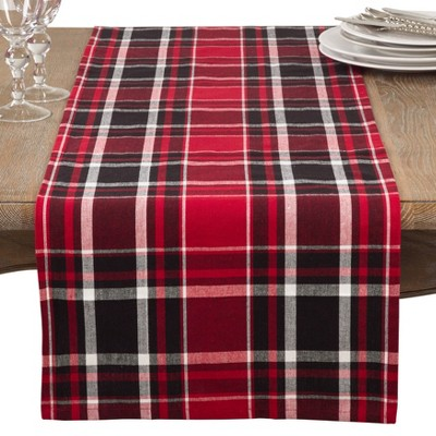 Jarret Classic Plaid Design Casual Cotton Table Runner - Saro Lifestyle