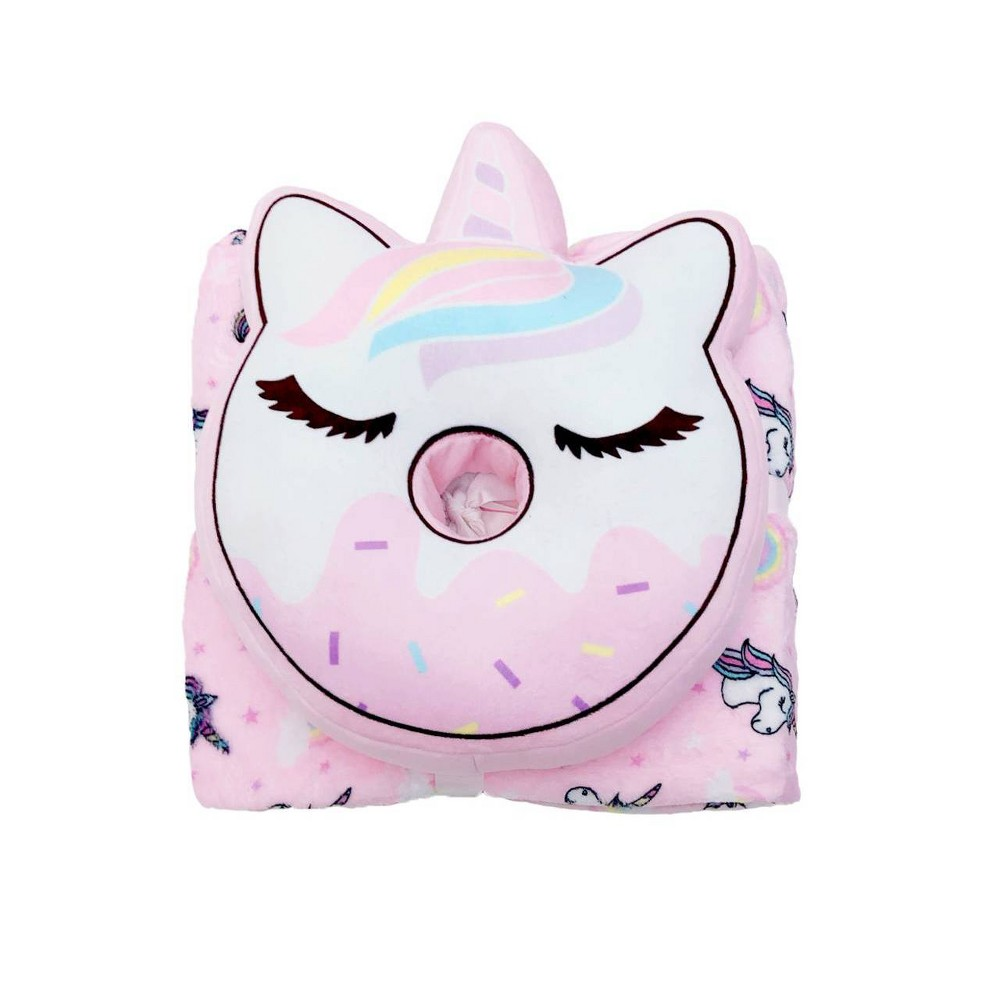 Image of Donut Unicorn Throw and Pillow Set