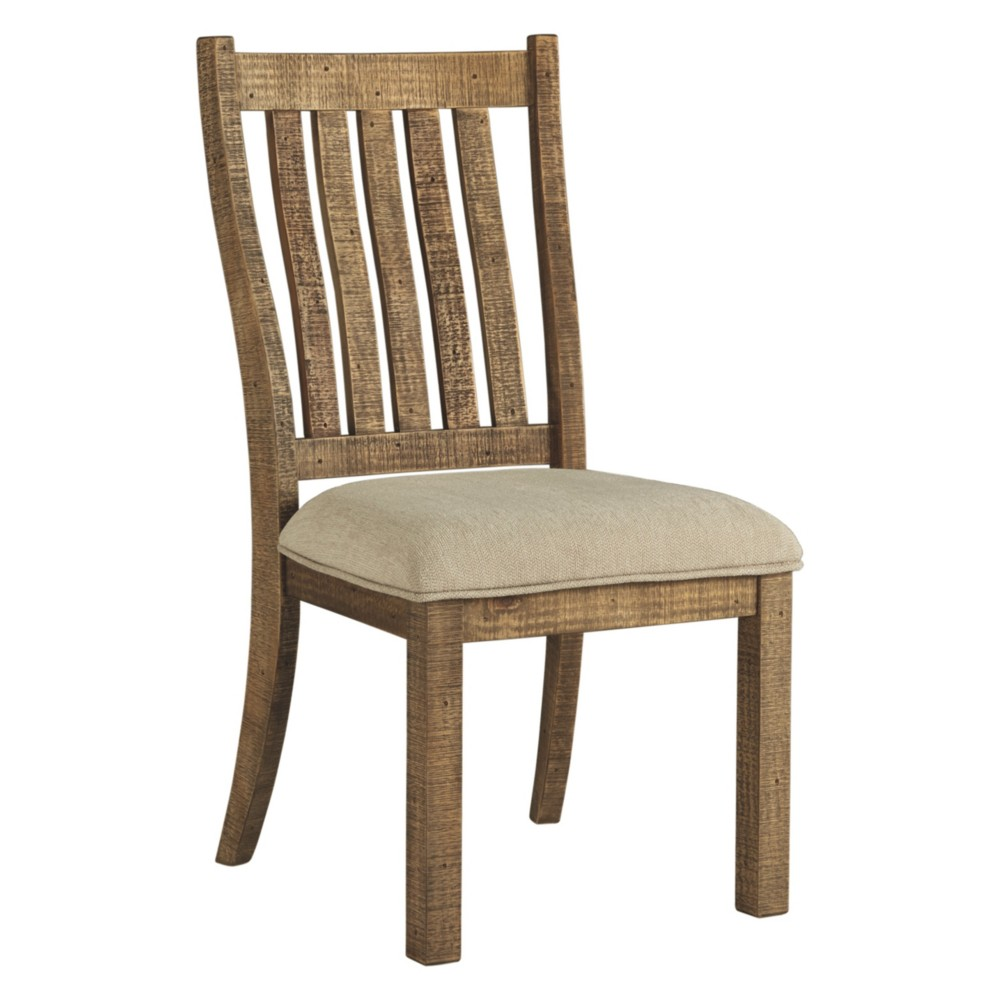 Set of 2 Grindleburg Dining Upholstered Side Chair White/Light Brown - Signature Design by Ashley