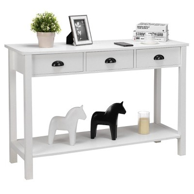 """Costway 47"""" Console Table Hall Table Side Desk Accent Table Drawers Shelf Entryway White"""