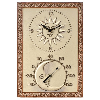 14.5  x 10  Resin Outdoor / Indoor Thermometer and Wall Clock - Sun and Moon Design - Acurite