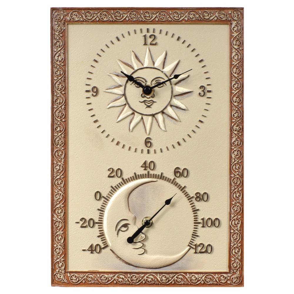 "Image of 14.5"" x 10"" Resin Outdoor / Indoor Thermometer and Wall Clock - Sun and Moon Design - Acurite, Brown"