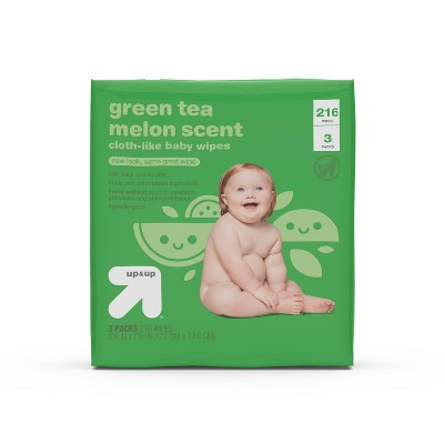 Green Tea Melon Scent Baby Wipes - 3pk/216ct Total - up & up™