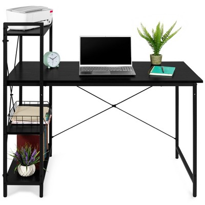 Best Choice Products 48in Computer Desk & 4-Tier Shelf, Modular Workstation, Home Office Furniture - Black