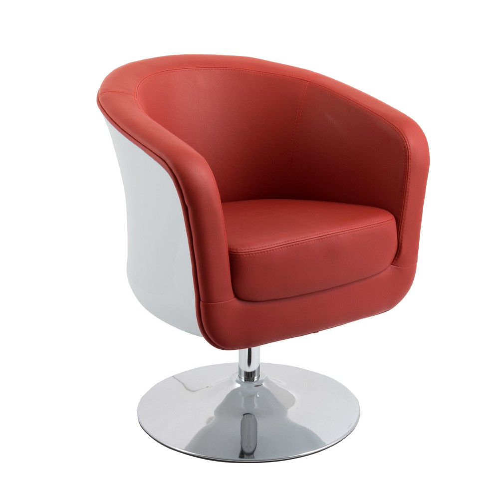 Modern Bonded Leather Tub Chair Red - CorLiving