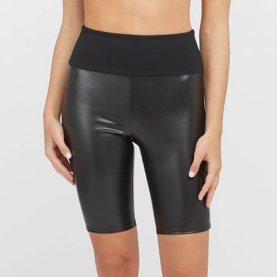 ASSETS by SPANX Women's Faux Leather Bike Shorts - Black