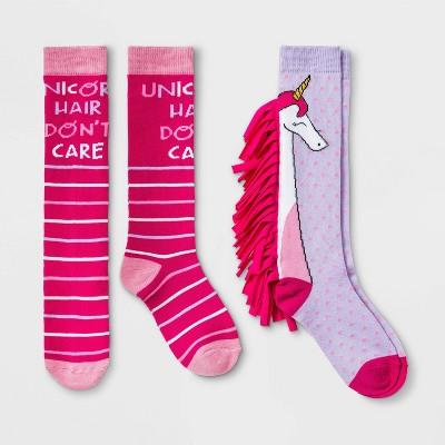 Girls' 2pk Knee High Unicorn Print Socks - Cat & Jack™