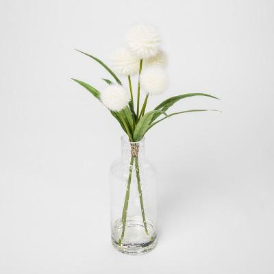 15  x 8  Artificial Dandelions In Glass Vase White/Green - Threshold™