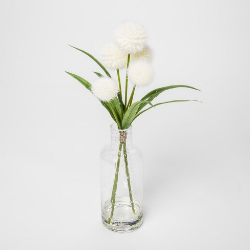 "15"" x 8"" Artificial Dandelions In Glass Vase White/Green - Threshold™ - image 1 of 1"