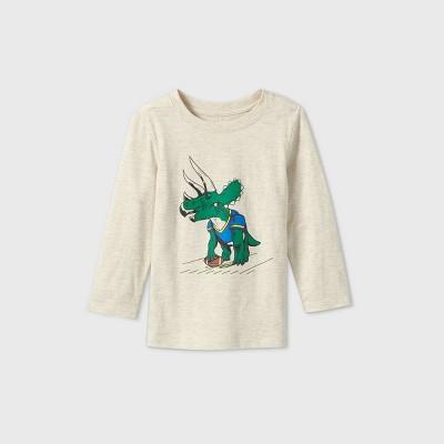 Toddler Boys' Long Sleeve Triceratop Football T-Shirt - Cat & Jack™ Oatmeal Heather 18M