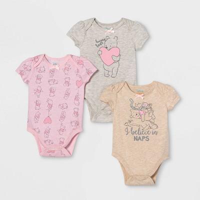 Baby Girls' 3pk Winnie the Pooh Bodysuits 3-6M