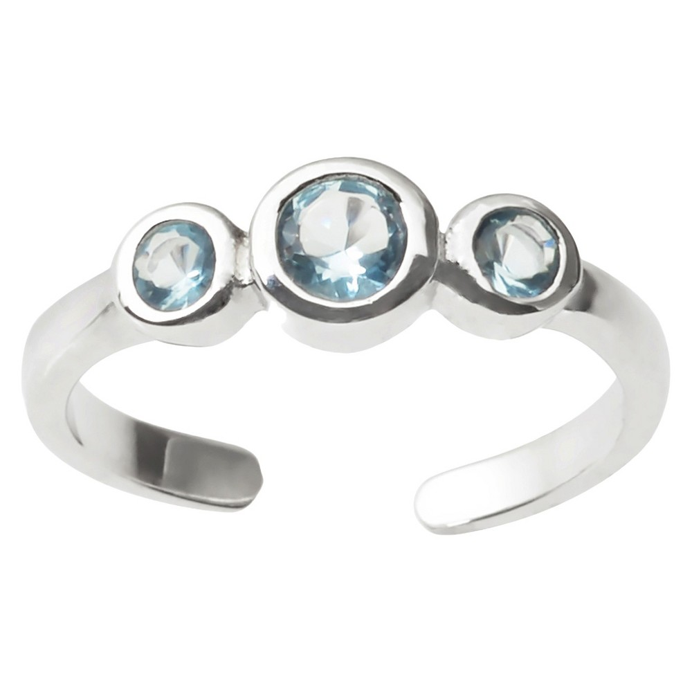 1/5 CT. T.W. Round-cut CZ Bezel-set Adjustable Toe Ring in Sterling Silver - Blue, Girl's