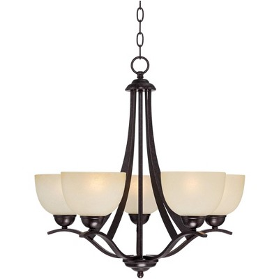 """Regency Hill Bronze Pendant Chandelier 23"""" Wide Scrolling Arms Indian Scavo Glass 5-Light Fixture Dining Room House Foyer Kitchen"""