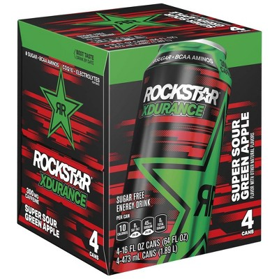 Rockstar Xdurance Super Sour Green Apple Energy Drink - 4pk/16 fl oz Cans
