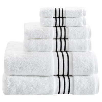 6pcs Belmont Cotton Solid Towel Set with Embroidery Black