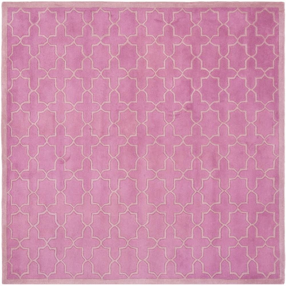 Pink Quatrefoil Design Tufted Square Accent Rug 4'X4' - Safavieh