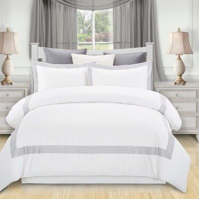 Modern Embroidered Geometric Cotton Duvet Cover and Pillow Sham Set - Blue Nile Mills