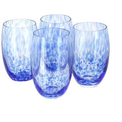 Blue Rose Polish Pottery Cobalt Confetti Water Glass Set