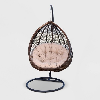 Bahia Outdoor Brown Wicker Swing Chair - Beige - Abbyson Living