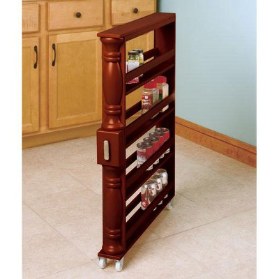 Lakeside Wooden Can Organizer & Spice Rack - Slim Rolling Kitchen Cart : Target