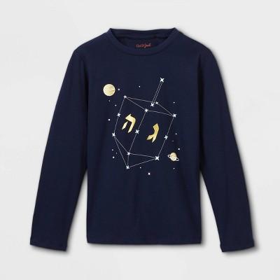 Boys' Hanukkah Dreidel Graphic Long Sleeve T-Shirt - Cat & Jack™ Navy