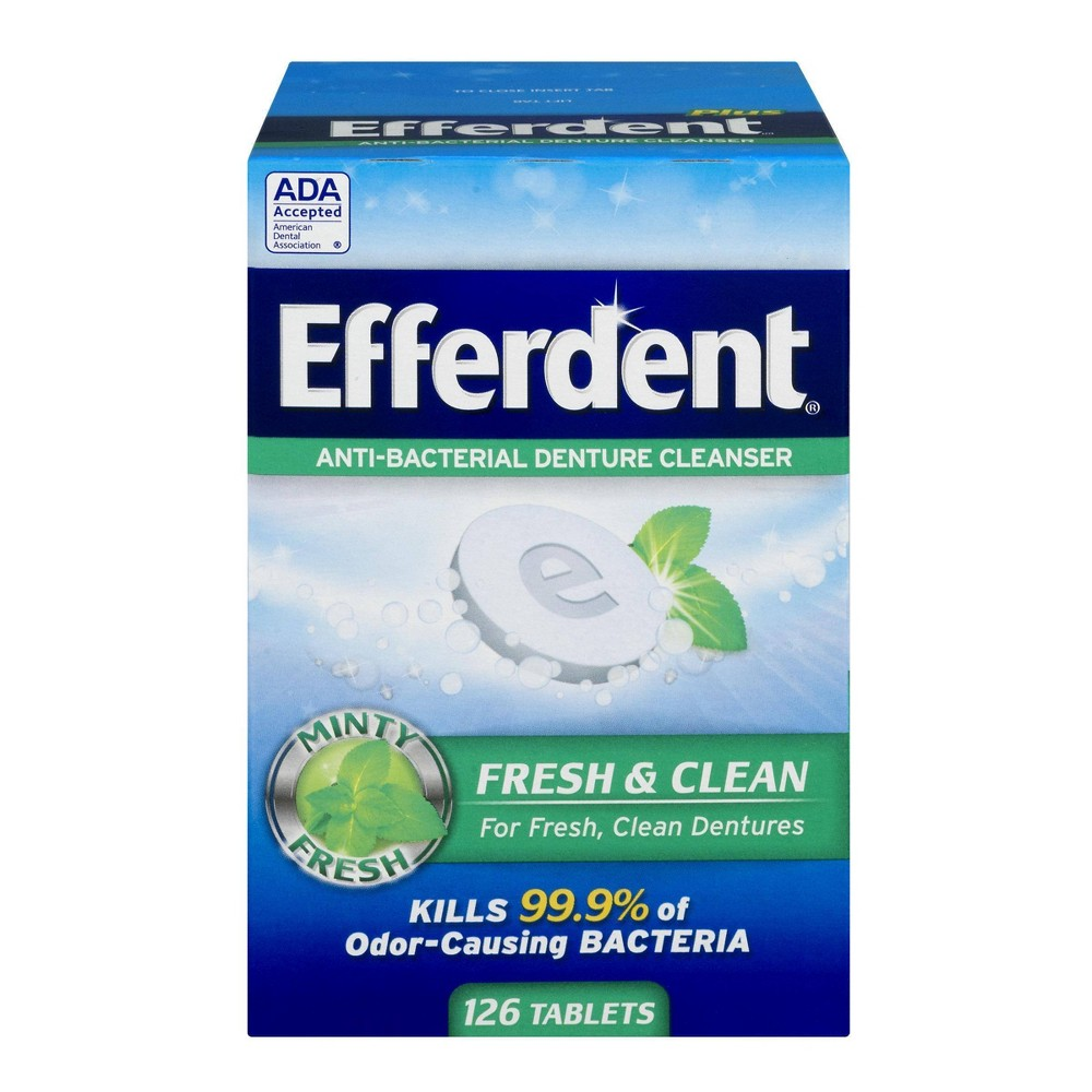 Image of Efferdent Plus Mint Anti-Bacterial Denture Cleanser - 126ct