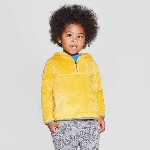 Toddler Boys' Teddy Bear Fleece Hoodie - Cat & Jack™ Bronzed Yellow - image 1 of 3
