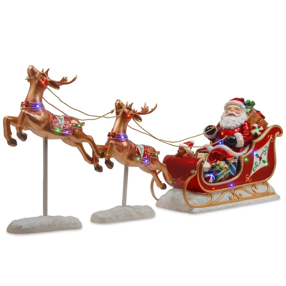 Image of 2.5' LED Lit Reindeer Pulling Sleigh with Santa - National Tree Company