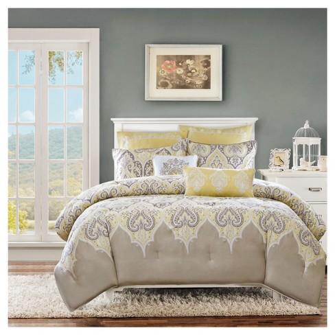 Naomi 7 Piece Comforter Set Yellow, Yellow King Bedding