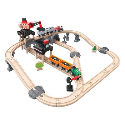 Hape E3756 Crane and Cargo Railway Train Mining Loader Set with Hoisting Magnetic Crane for Trains, Trucks, and Cargo, Multicolor