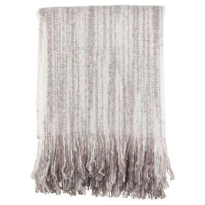"Gray Fringe Hem Faux Throw Blankets (50""x60"")- Saro Lifestyle"
