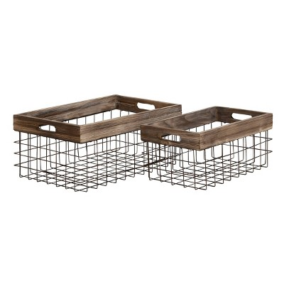 Olivia & May Set of 2 Large Rectangular Farmhouse Style Wood Metal Storage Baskets