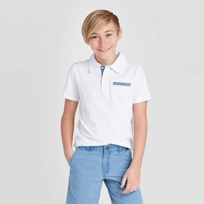 Boys' Short Sleeve Knit Polo Shirt - Cat & Jack™ White XL