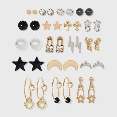 Stars and Moon Stud Drop Earring Set 18pc - Wild Fable™