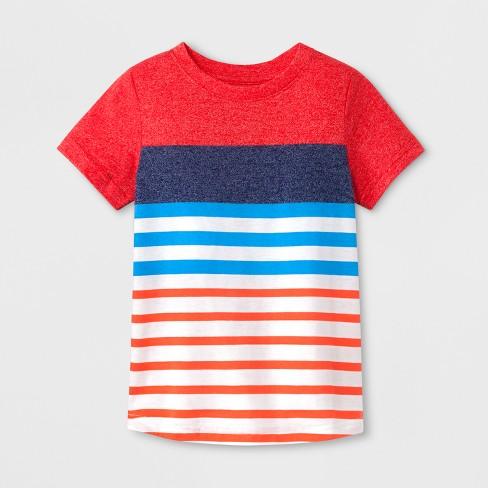 Toddler Boys' Short Sleeve T-Shirt - Cat & Jack™ Red Stripe 4T - image 1 of 1