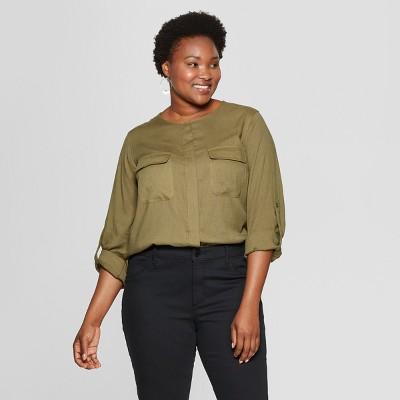 fefefdcc1d6c8c Women s Plus Size Utility Pocket Long Sleeve Shirt - Ava ...