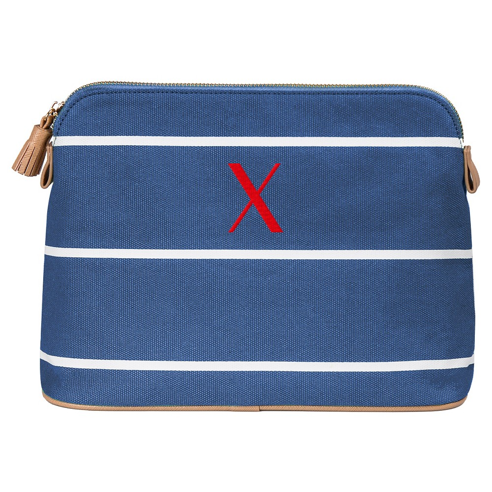 Personalized Blue Striped Cosmetic Bag - X