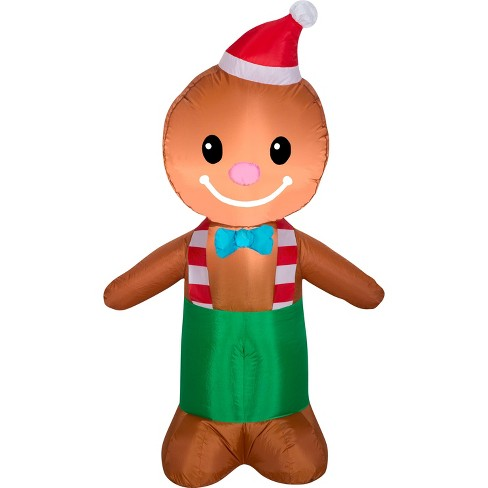 Gemmy Christmas Airblown Inflatable Gingerbread Man 4 Ft Tall Multicolored Target