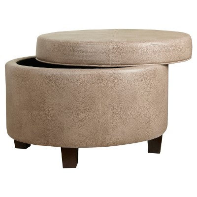 Round Faux Leather Ottoman   Taupe   Homepop : Target