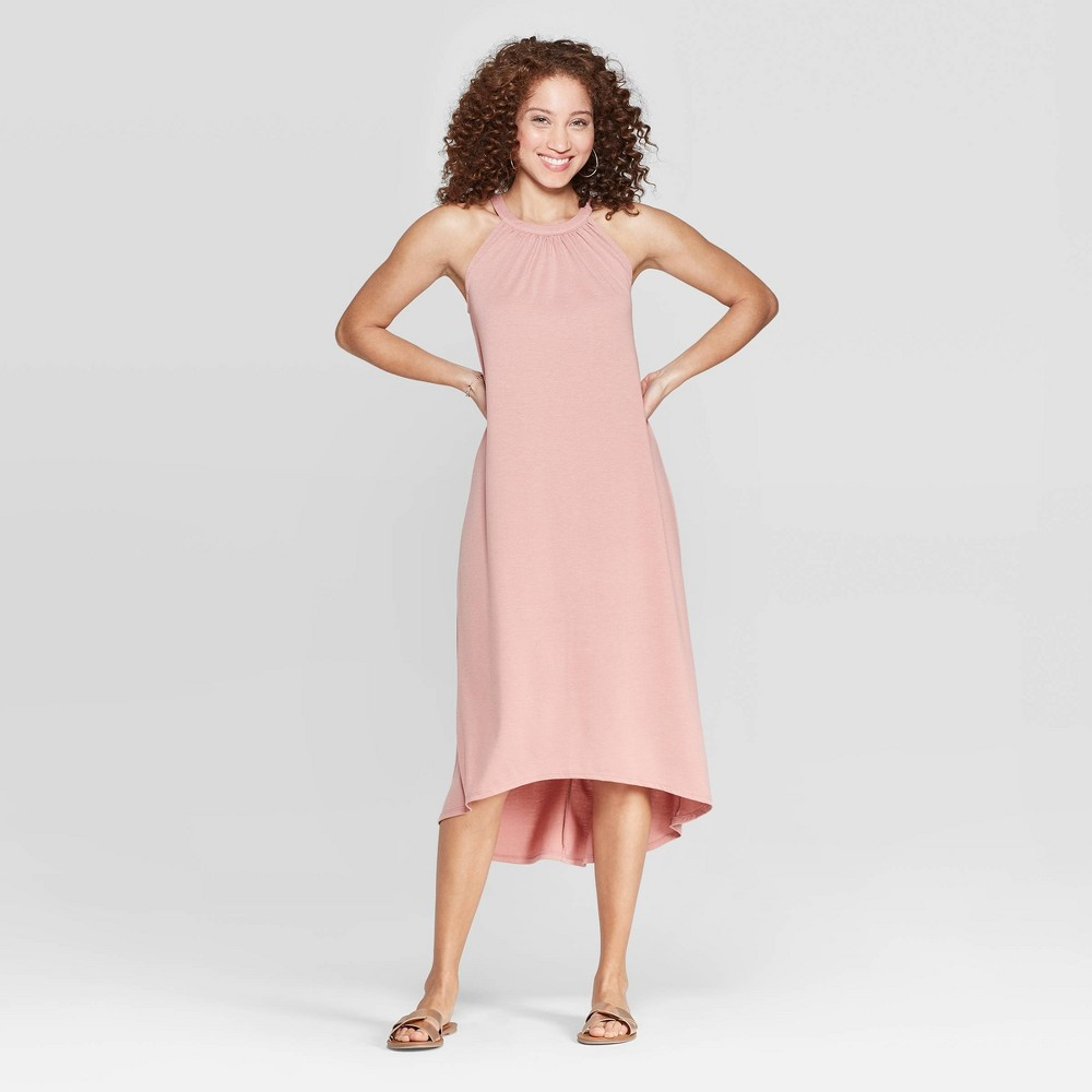 Women's Relaxed Fit Sleeveless Crewneck Maxi Dress - A New Day Snowbloom Rose XL