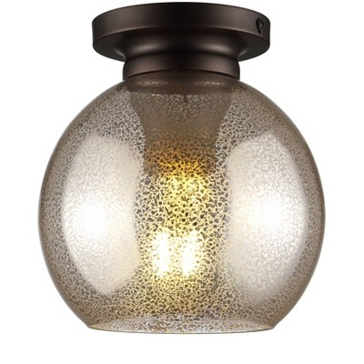 "7.75"" Metal/Glass Atlas Flush Mount (Includes Energy Efficient Light Bulb)Bronze - JONATHAN Y"