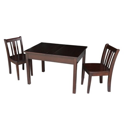 Kids' Storage Table with 2 San Remo Juvenile Chairs Rich Mocha - International Concepts