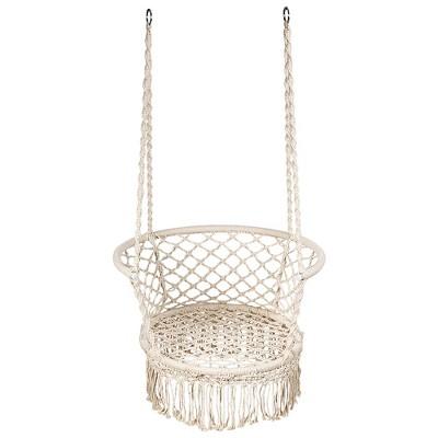 Costway Hanging Hammock Chair Macrame Swing Hand Woven Cotton Backrest