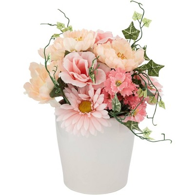 "Dahlia Studios Pink Daisy and Peach Hydrangea 12"" High Faux Flowers in Pot"