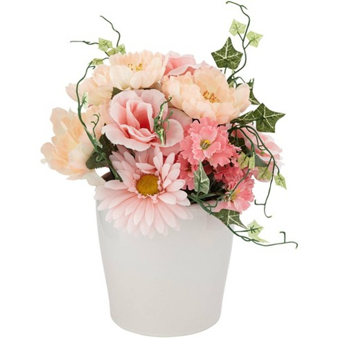 """Dahlia Studios Pink Daisy and Peach Hydrangea 12"""" High Faux Flowers in Pot - image 1 of 4"""