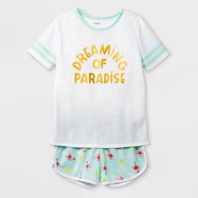Girls' 2pc 'Dreaming of Paradise' Pajama Set - Cat & Jack™ White M