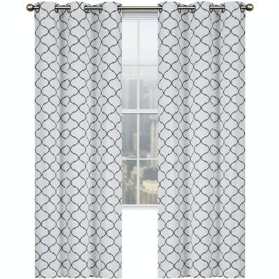 Kate Aurora Contemporary Living 2 Pack Gray And White Trellis Clover Window Curtains - 38 in. W x 84 in. L