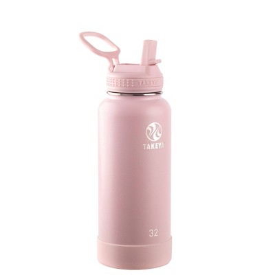 Takeya 32oz Actives Insulated Stainless Steel Water Bottle with Straw Lid - Blush